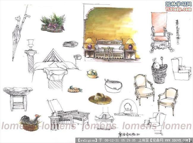 手绘椅子单体家具