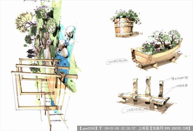 经典马克笔手绘图的图片浏览,园林效 果图,公园景观,.