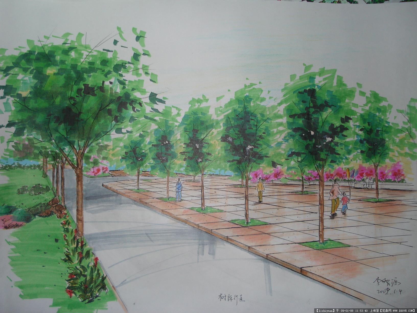 广场入口手绘效果图图片展示; 景观公园入口手绘图片分享; 刘海软化前