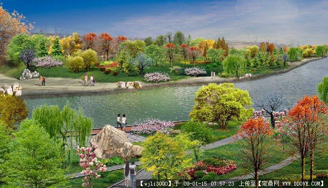 滨水景观节点效果图; 园林景观平面效果图图片分享