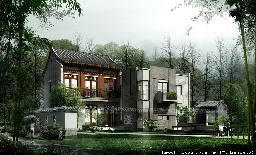 观唐中式别墅园林效果图欣赏