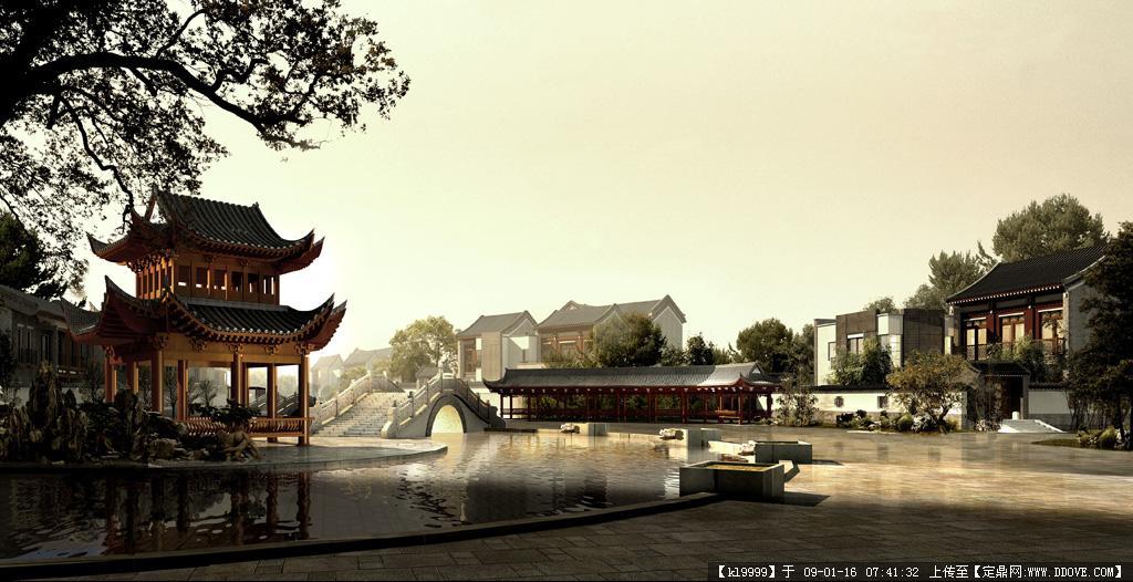 观唐中式别墅园林效果图欣赏图片