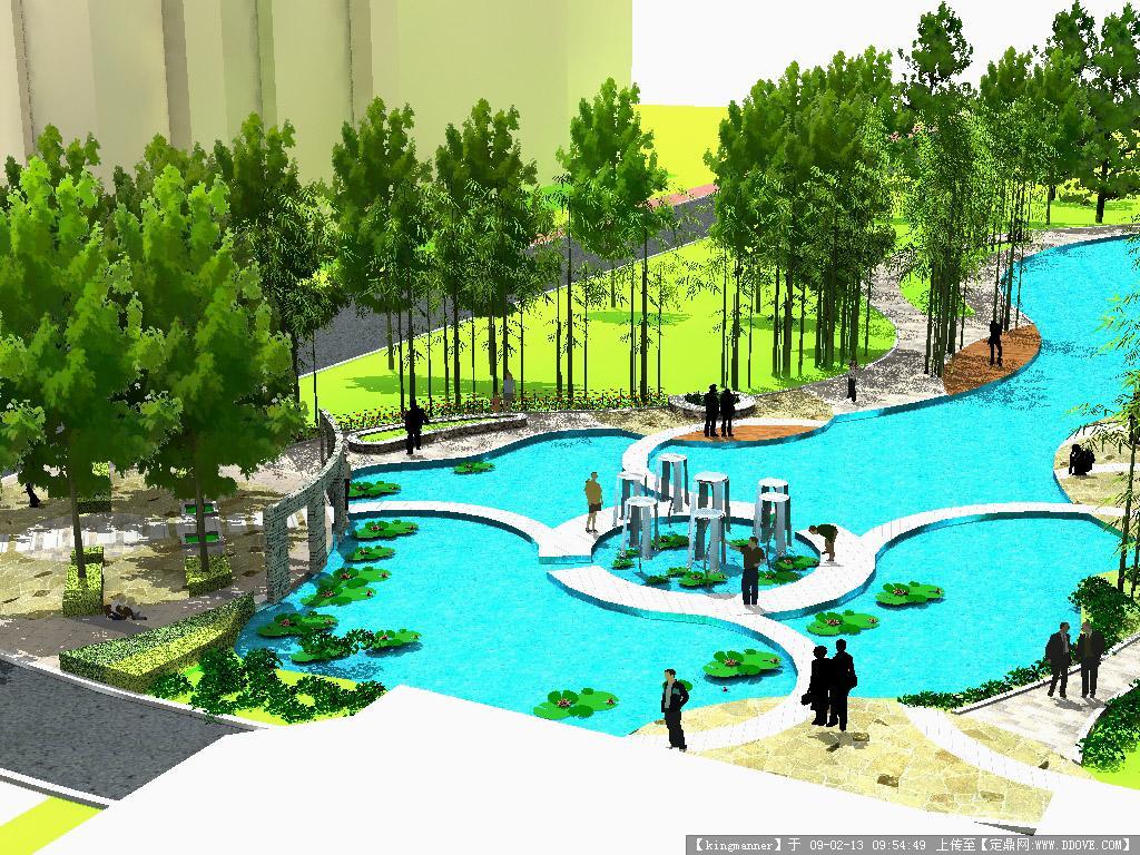 定鼎网 设计素材 三维模型 园林景观 sketchup(su)小区景观作品.