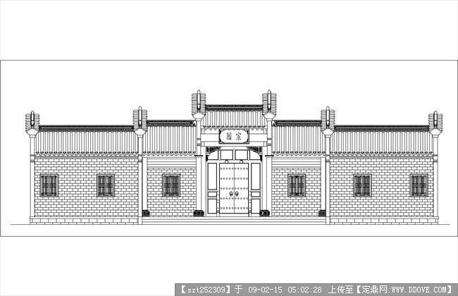 古建筑图纸-四合院大门立面