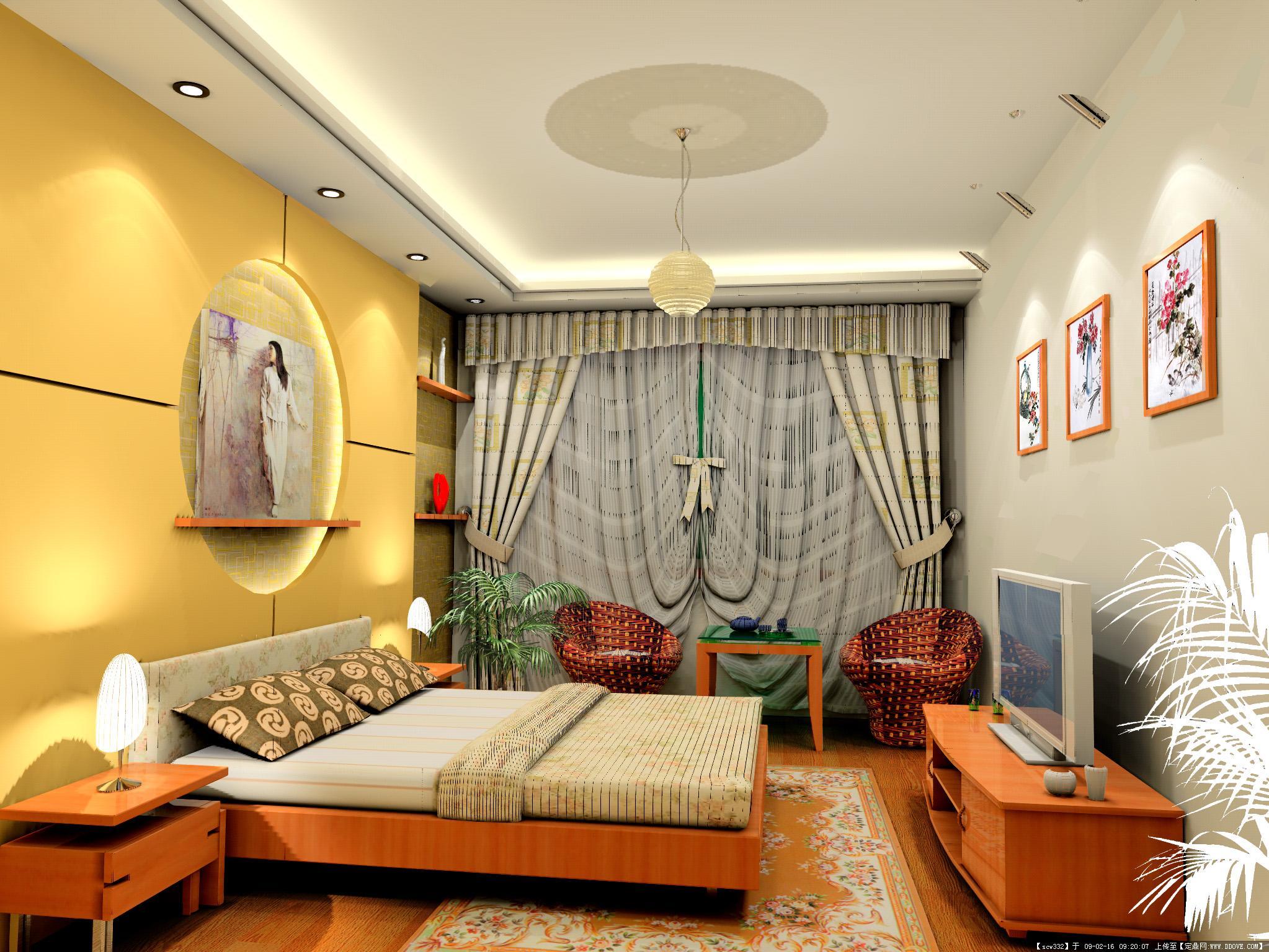室内装修-卧室a效果图.jpg 原始尺寸:2046 * 1536