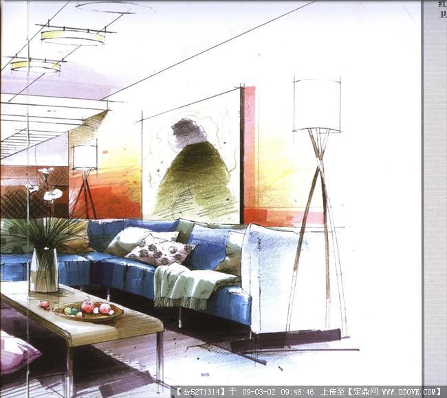 单个欧式家具手绘图