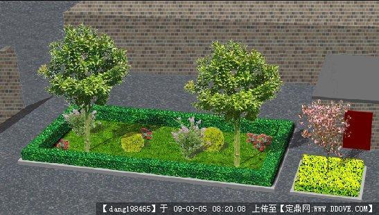 小院绿化_psd模版_园林效果图,园林建筑装饰设计素材_定鼎素材; 小院