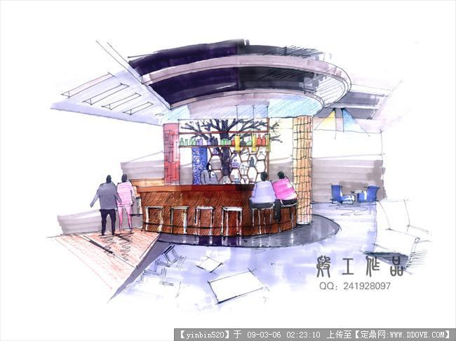 原创景观手绘效果图; 手绘吧台效果图; 酒吧吧台手绘效果图