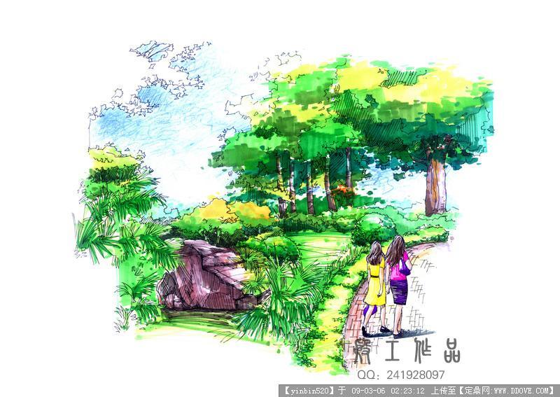 原创景观手绘效果图-公园一角手绘.jpg 原始尺寸:800 * 567
