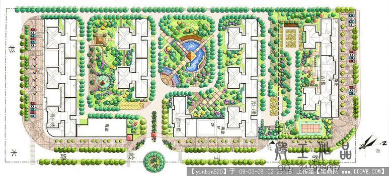 景观手绘效果图; 园林景观规划彩平图