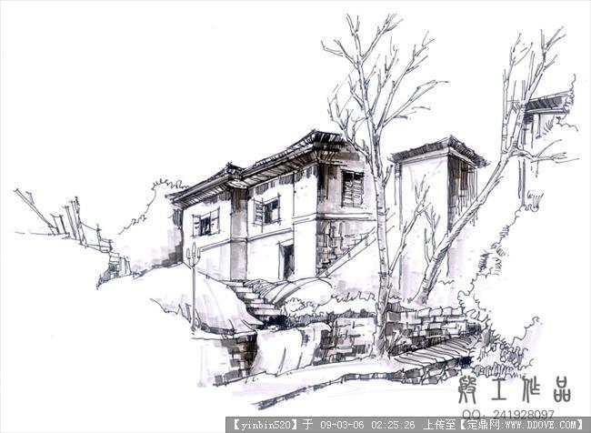 原创景观手绘效果图-庐山老房子1