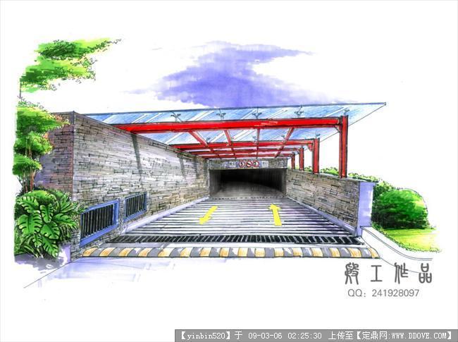 原创景观手绘效果图-停车场出入口.jpg