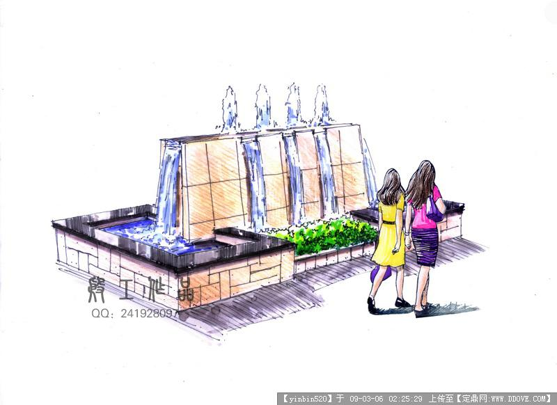 原创景观手绘效果图-商业街水景透视.jpg 原始尺寸:800 * 582