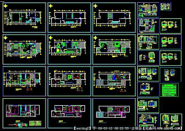 一套布局室内设计完整v布局别墅cad慢模型图纸到打开图纸转图片