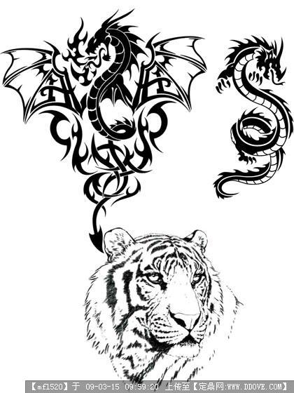 图腾纹身龙 纹身图腾狼龙火图腾纹身图案大全你好呀