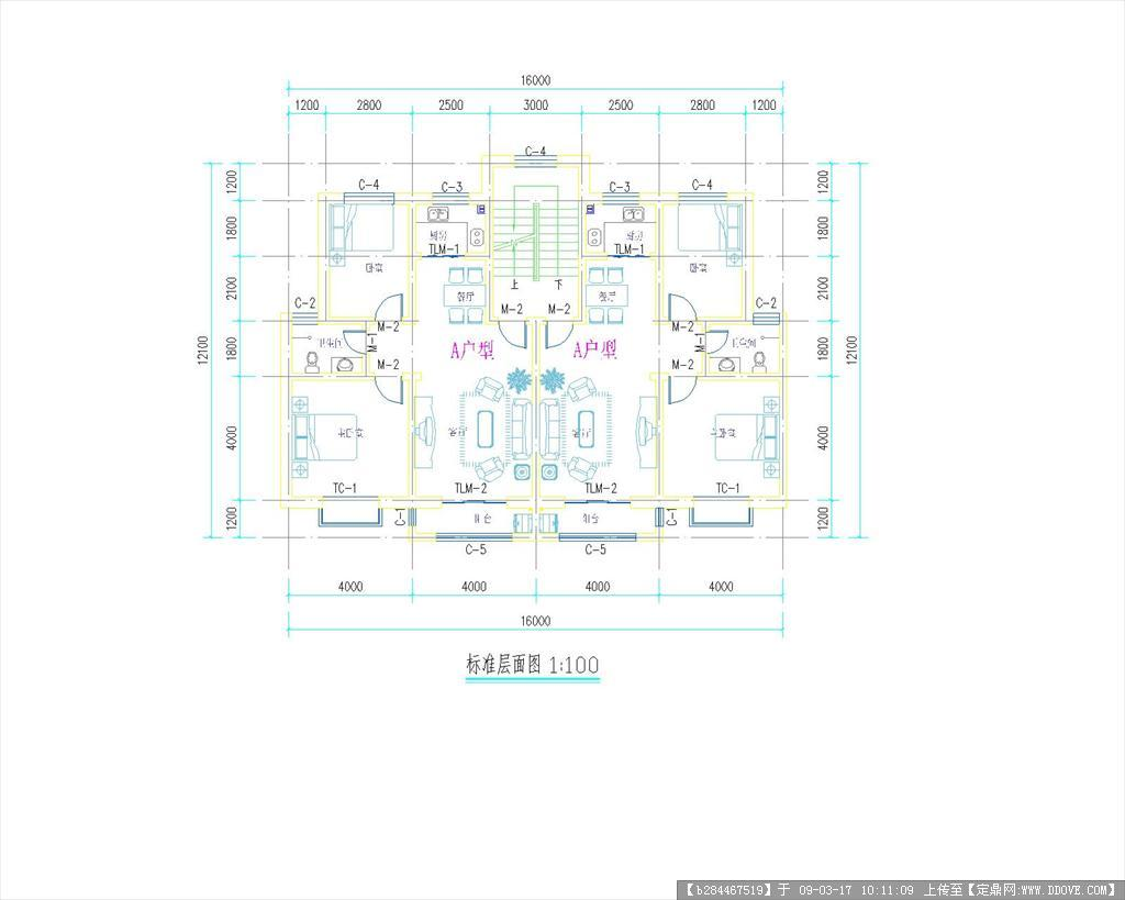 2017最新整理147套住宅楼cad户型设计图大全(一梯四户图片