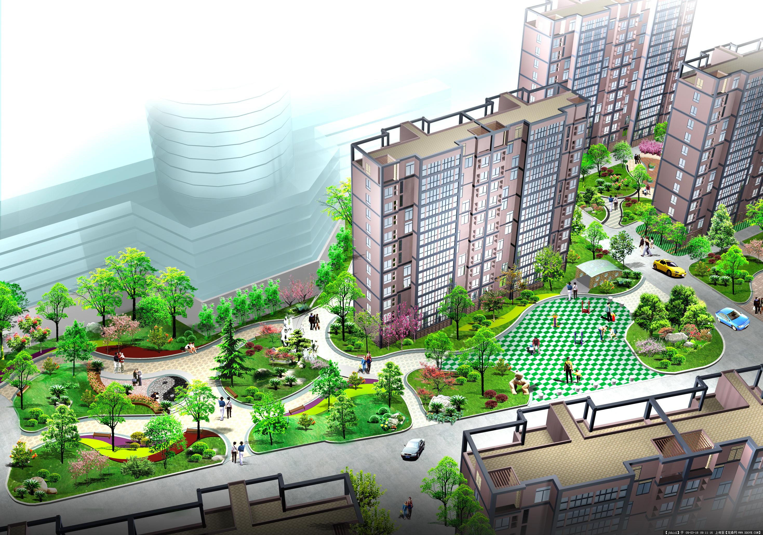 小区绿化设计方案效果图