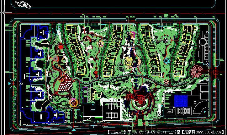 四川德阳小区绿化设计方案cad施工图纸
