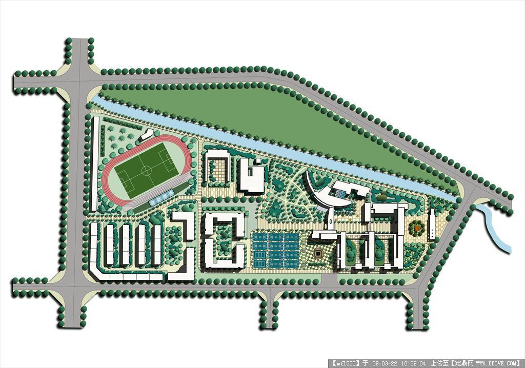 定鼎网 设计素材 psd模版 园林效果图 学校平面图分层psd模板  2 27.