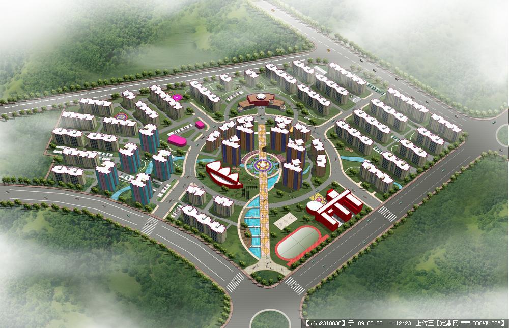 居住区规划鸟瞰效果图psd模板