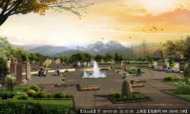 旅游 集散中心设计方案进行了; 丽江白龙广场_园林效果图_公园景观,园