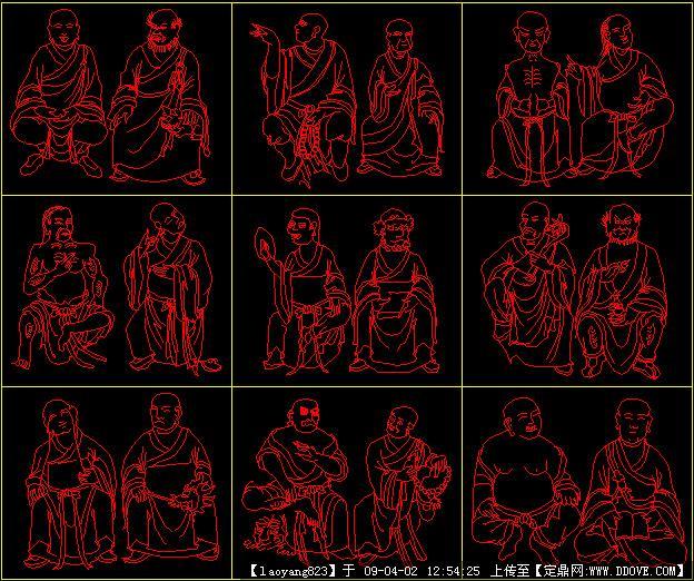 CAD画的十八罗汉cad不能f8用图片