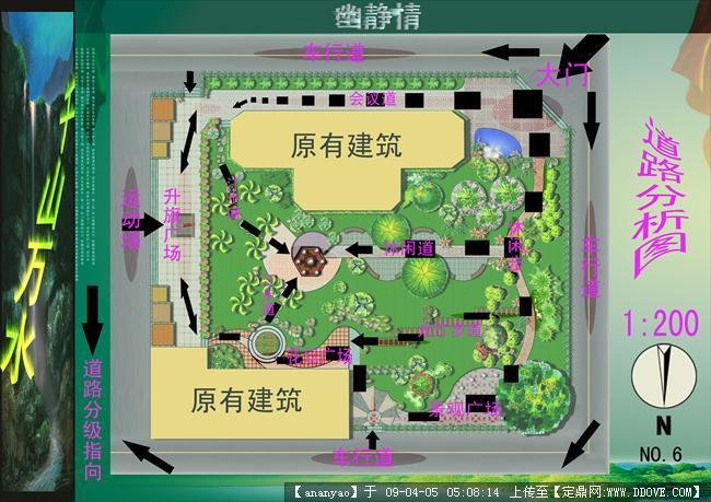 景观设计道路分析图; 方案构思分析图;