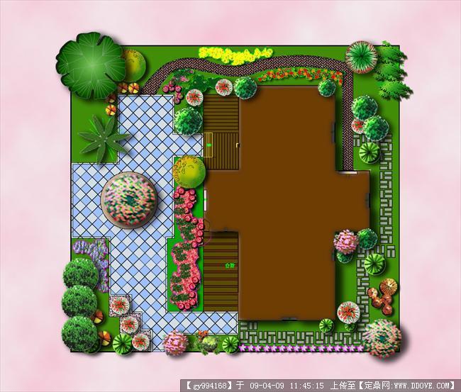 庭院平彩;; 小庭院設計平面圖圖片; 物人園林景觀戶型彩平面圖