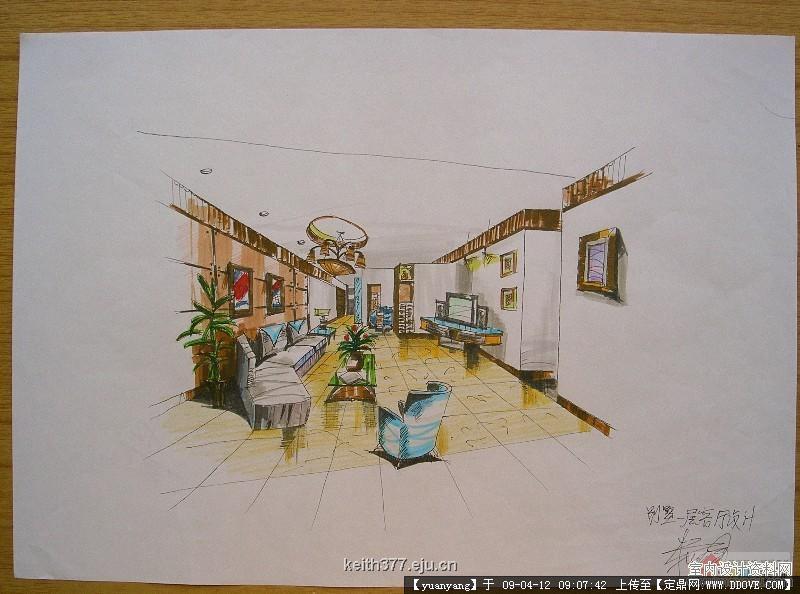 手绘室内效果图_室内手绘效果图的步骤的详细内容,室内装饰设计施工图纸资料 ...