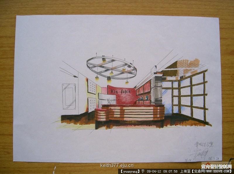 室内手绘效果图的步骤  勾创意稿,    大空间把握不好的,就透视画底稿