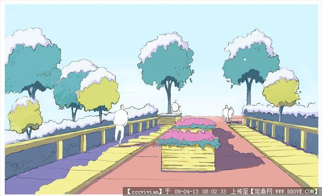 园林景观建筑平面图;; 手绘小景平面图及效果图(); 手绘小景平面图及