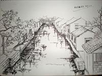 在校生钢笔画写生-乌镇.jpg图片