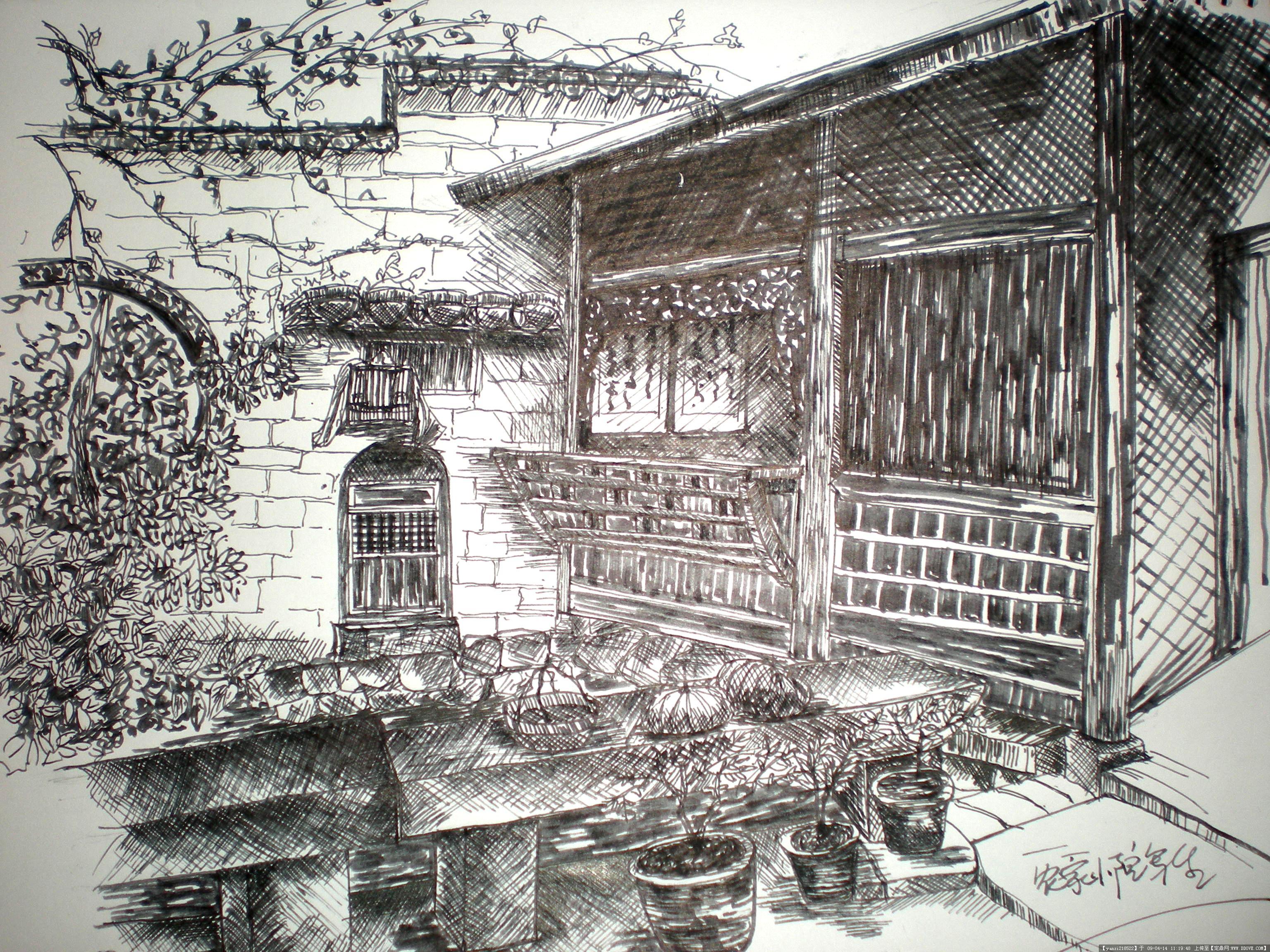 手绘外国建筑钢笔画图片