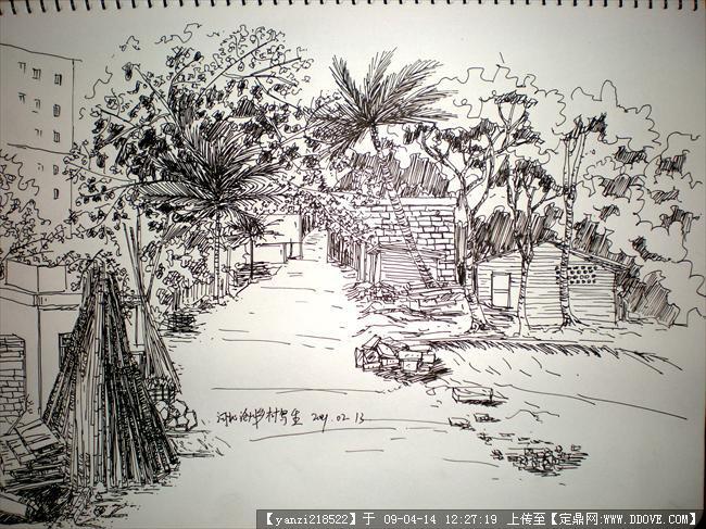 风景手绘钢笔画伦敦塔桥