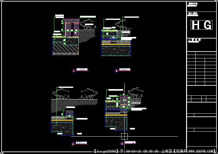 CAD地下室顶园路剖面cad不延伸角度直线改变图片