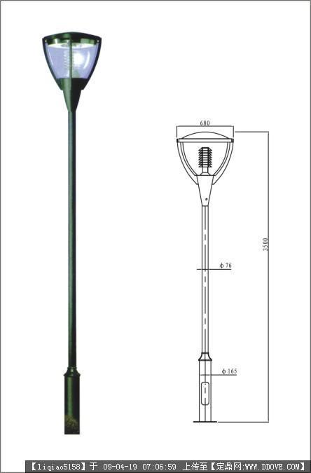 园灯建筑手绘单体线稿