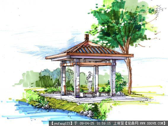 园林手绘局部效果图 园林喷泉手绘效果图 景观园林手绘平面图图片