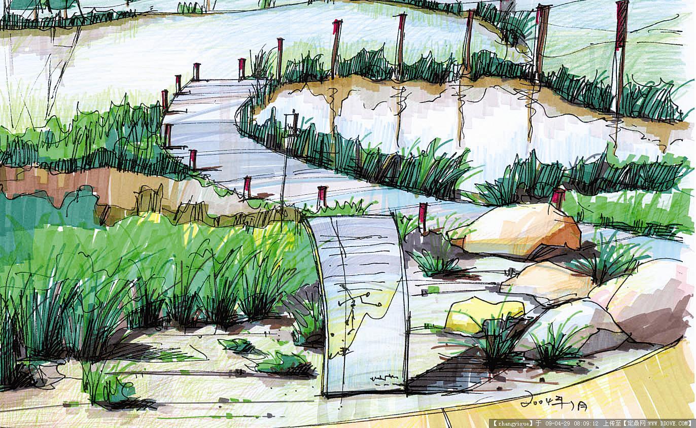 园林效 果图,手绘效果