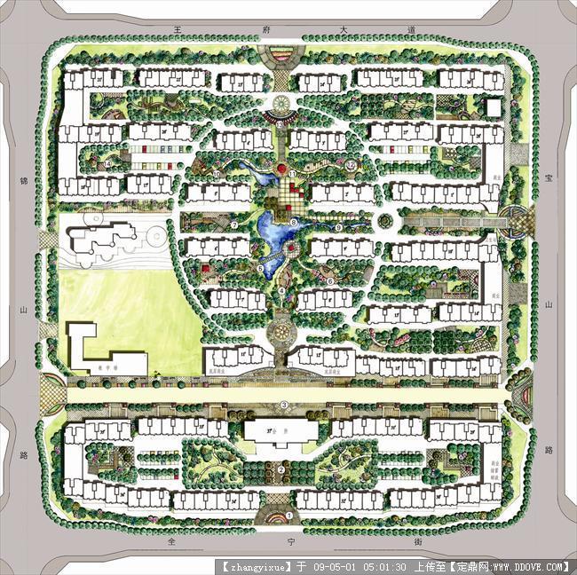 手绘园林图片2-004总平面图