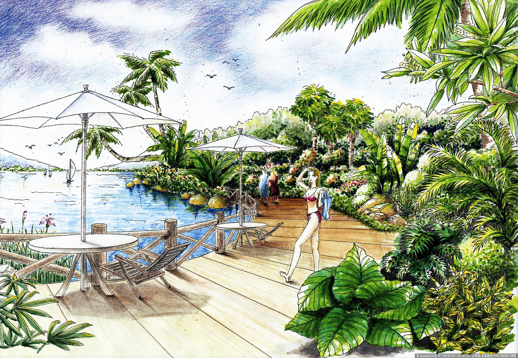 手绘园林图片3-14-小岛风情效果图 -a2 副本.