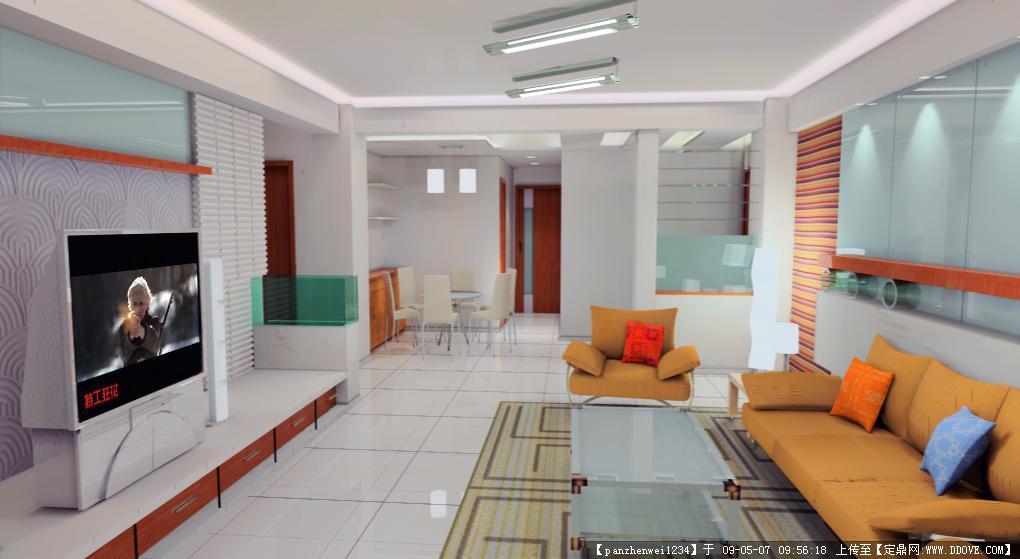 住宅室内装饰3d建模及渲染效果图一张高清图片