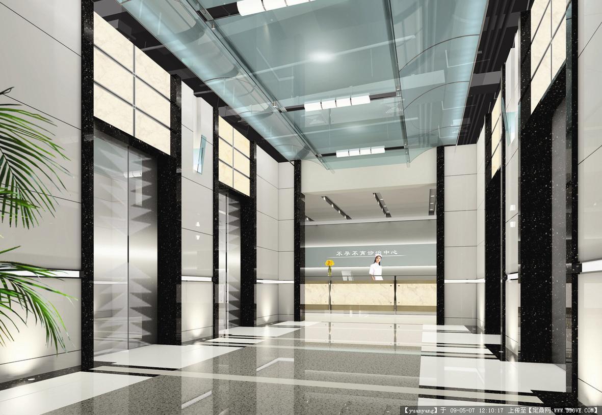 杭州某医院门诊大楼装修效果图-电梯厅.jpg