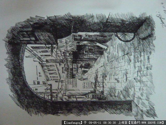 建筑钢笔画