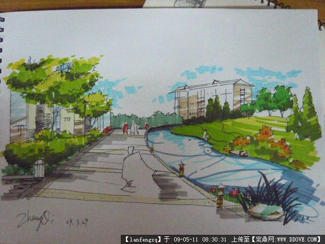 建筑钢笔画的图片浏览,建筑效 果图,手绘建筑效果图