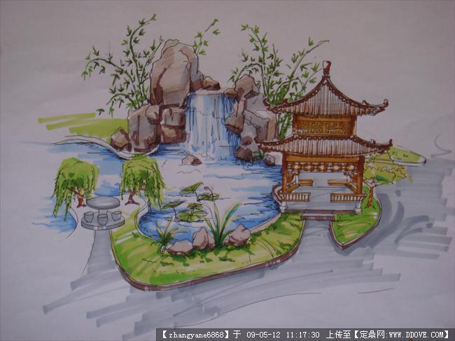 定鼎网 定鼎园林 园林效 果图 手绘效果 园林小景手绘  序号 文件名