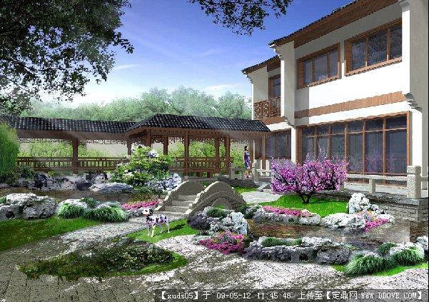 中式别墅庭院园林效果图片