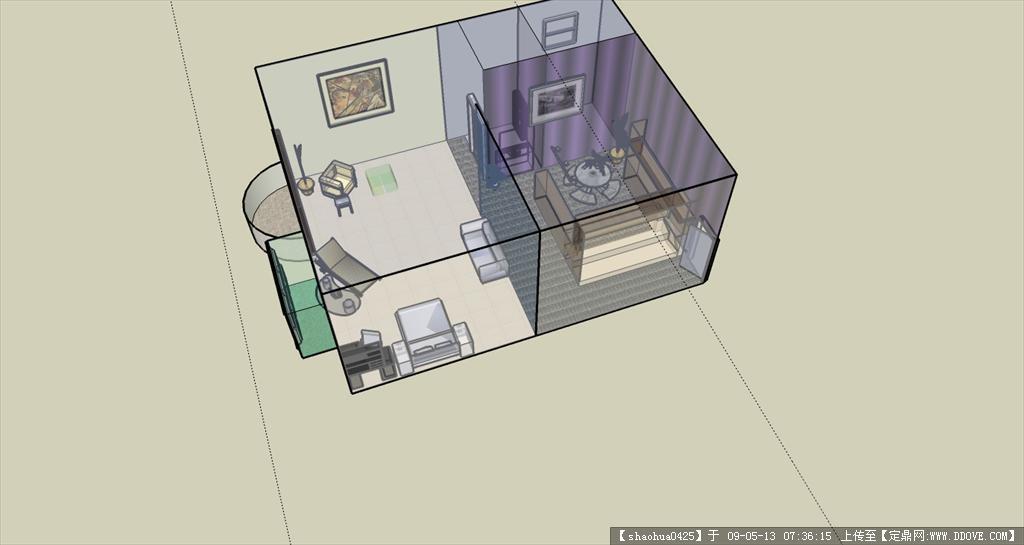小户型室内建筑完整sketchup模型