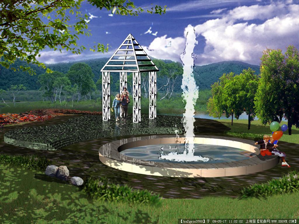psd园林景观效果图-亭子喷泉效果