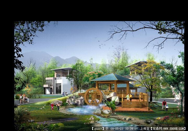 山水庭院别墅建筑景观效果图psd分层素材库