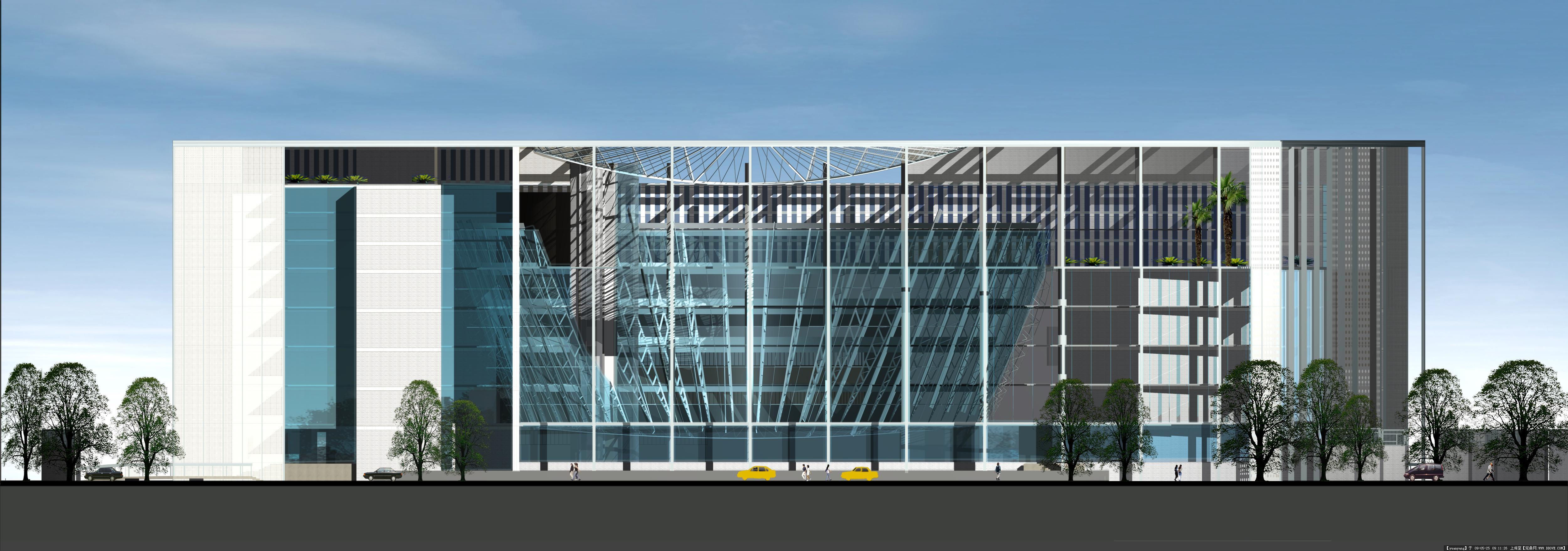 南京图书馆建筑设计全套效果图-南京图书馆东立面.jpg